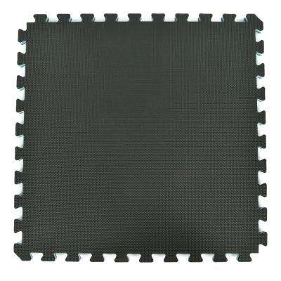 Home Sport and Play Black/Gray 24 in. x 24 in. x 7/8 in. Foam Interlocking Floor Tile (Case of 25)