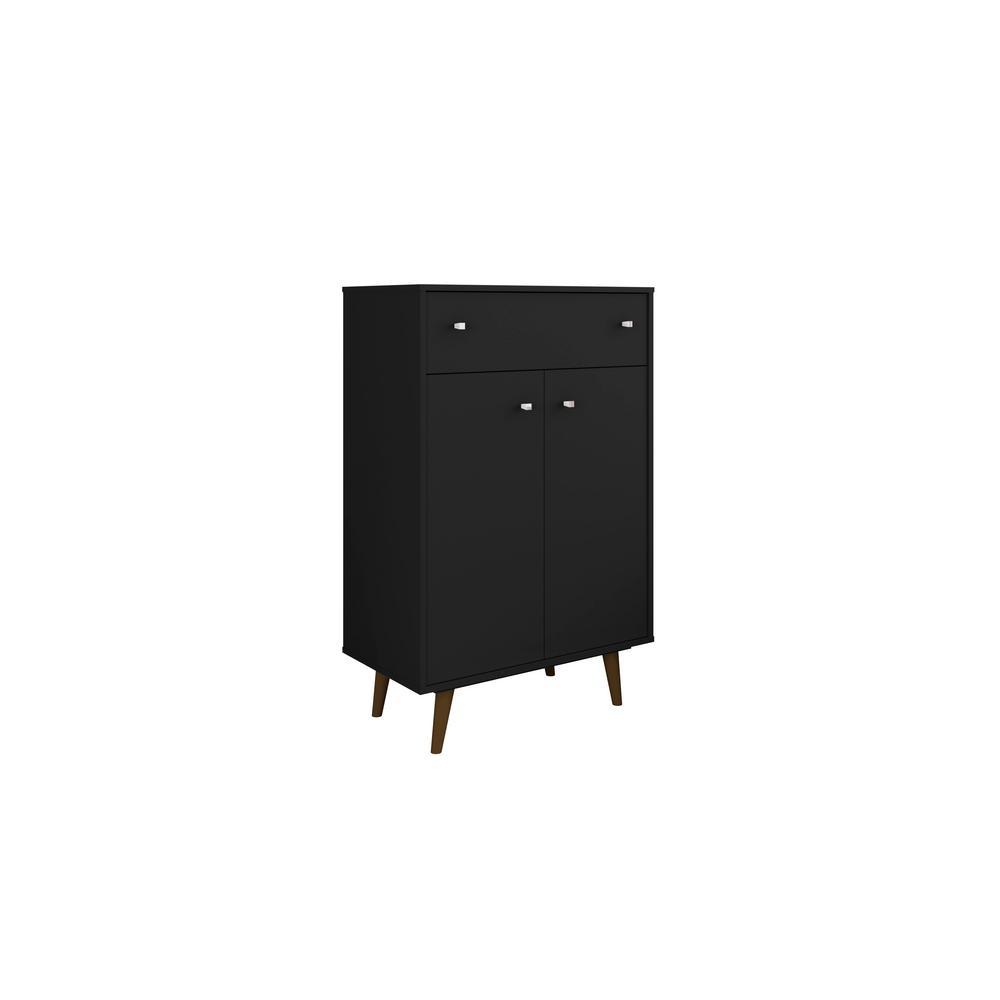 Manhattan Comfort Liberty 28.07 In. Black Storage Cabinet