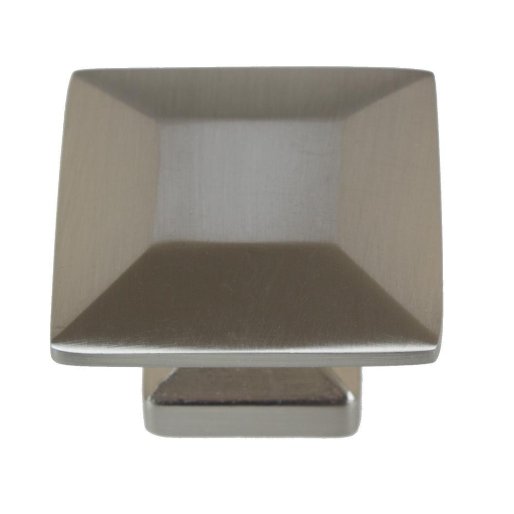 1-3/8 in. Satin Nickel Square Cabinet Knob (10-Pack)