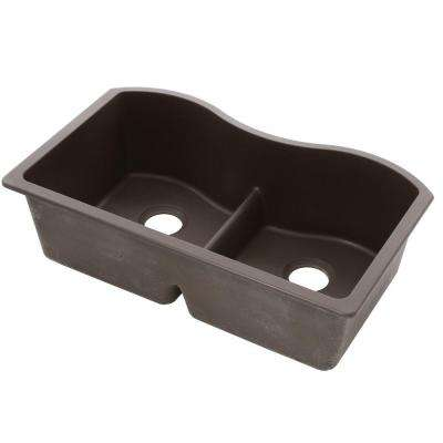 Quartz Classic Undermount Composite 33 in. Rounded 50/50 Double Bowl Kitchen Sink in Mocha