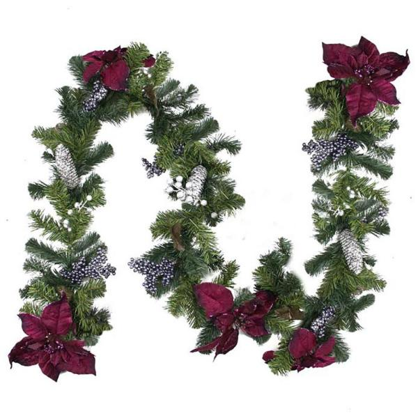 6 ft. x 10 in. Unlit Dual-Tone Pine with Purple Poinsettias Berries and Pine Cones Christmas Garland