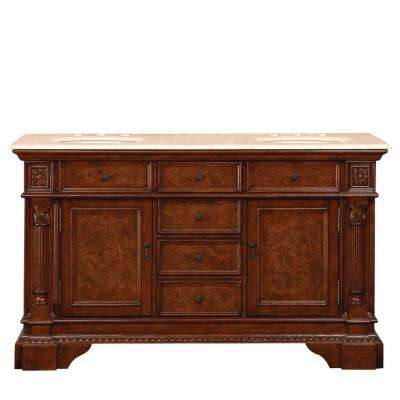 60 in. W x 22 in. D Vanity in Red Mahogany with Marble Vanity Top in Crema Marfil with Ivory Basin
