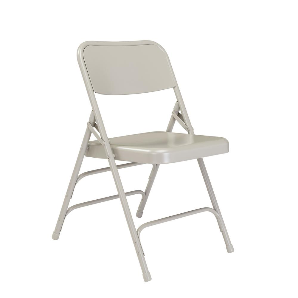 National Public Seating Grey Metal Stackable Folding Chair ...