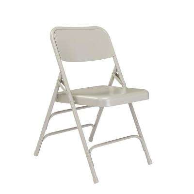 Grey Metal Stackable Folding Chair (Set of 4)