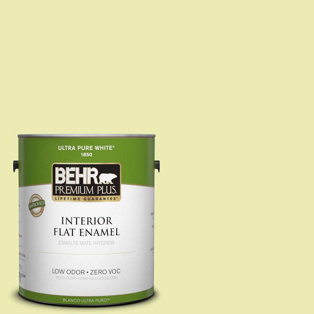BEHR Premium Plus 1-gal. #410A-2 Cabbage Green Zero VOC Flat Enamel Interior Paint-DISCONTINUED