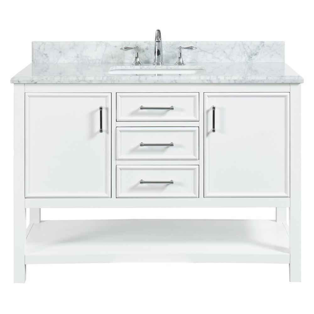 Uptown 48 in. W x 22 in. D x 34.75 in. H Bath Vanity in Dove White with Marble Vanity Top in White with White Basin