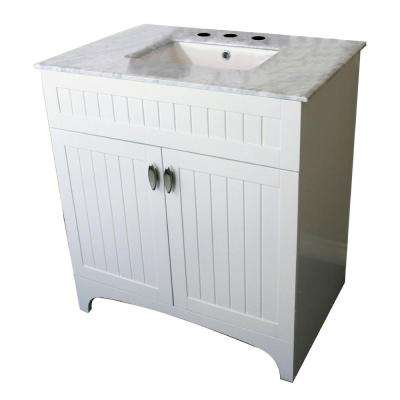 Temecula 32 in. W x 22 in. D Single Vanity in White with Marble Vanity Top in White with White Basin