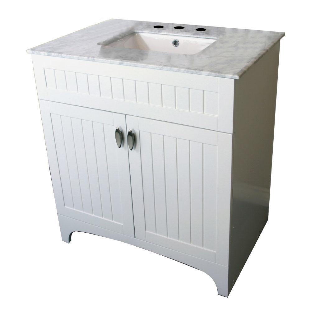 Temecula 32 in. W x 22 in. D Single Vanity in White with Marble Vanity Top in White with White Basin