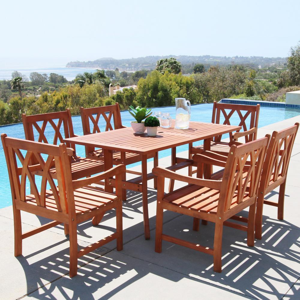 Vifah Malibu Hardwood 7-Piece Outdoor Rectangle Patio Dining Set -  V189SET19