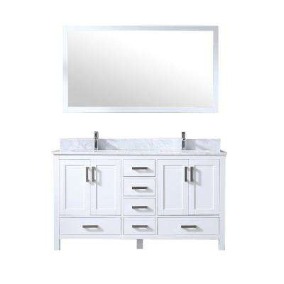 Jacques 60 in. Double Bath Vanity in White w/ White Carrera Marble Top w/ White Square Sinks and 58 in. Mirror