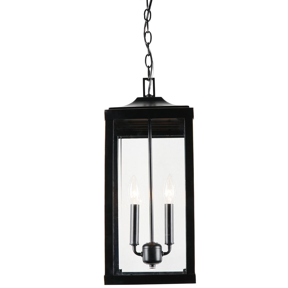 2 Light 20.2 in. Outdoor Hanging Lantern in Imperial Black