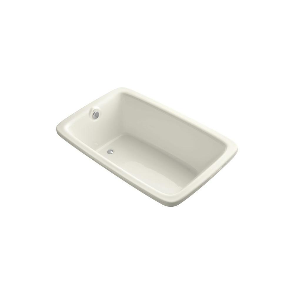 KOHLER Bancroft VibrAcoustic 5.5 ft. Rectangle Reversible Drain Soaking Tub in Biscuit