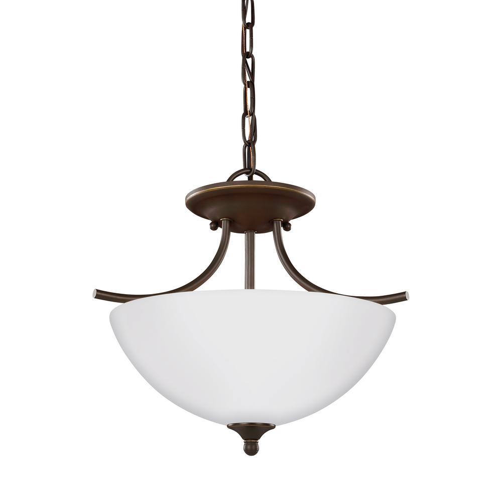 Bannock 2-Light Heirloom Bronze Semi-Flushmount Convertible Pendant with LED Bulbs