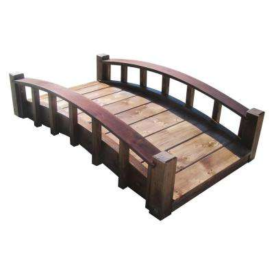 4 ft. Japanese Wood Garden Moon Bridge with Arched Railings - Treated