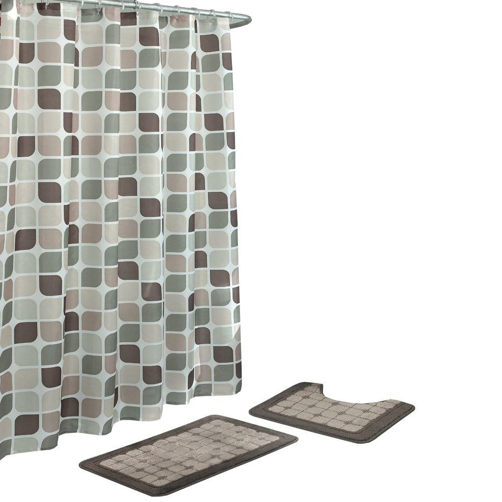 Bath Fusion Zaragoza Linen/Chocolate 15-Piece Bath Rug and Shower Curtain Set