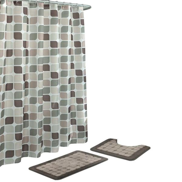 Zaragoza Linen/Chocolate 15-Piece Bath Rug and Shower Curtain Set