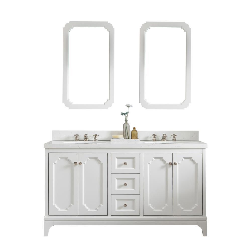Queen 60 in. Pure White With Quartz Carrara Vanity Top With Ceramics White Basins