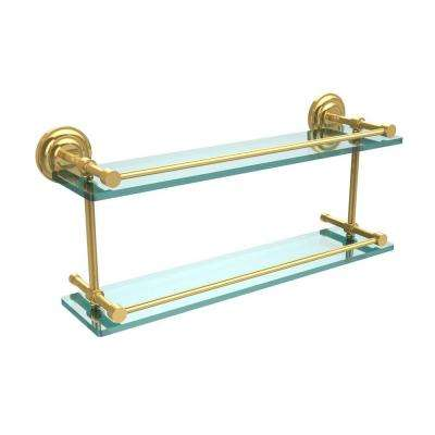 Que New 22 in. L x 8 in. H x 5 in. W 2-Tier Clear Glass Bathroom Shelf with Gallery Rail in Polished Brass