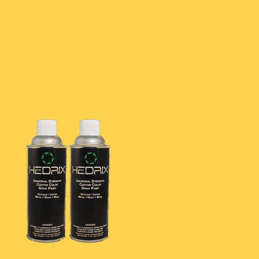 Hedrix 11 oz. Match of 330B-6 Lemon Sorbet Semi-Gloss Custom Spray Paint (2-Pack)
