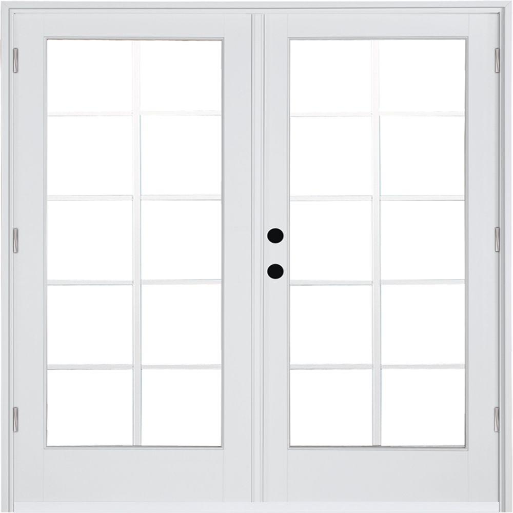 MP Doors 60 in. x 80 in. Fiberglass Smooth White Right-Hand Outswing Hinged Patio Door with 10-Lite GBG