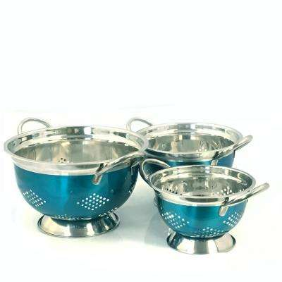 Metaline Stainless Steel Colander (Set of 3)