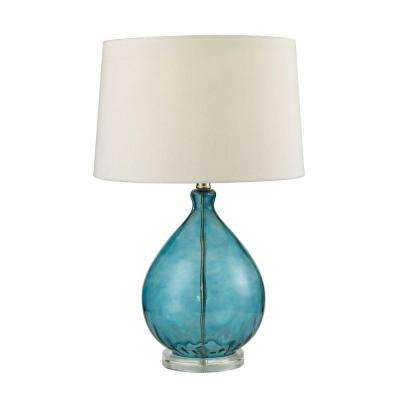 Wayfarer 24 in. Teal Glass Table Lamp