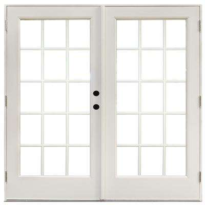 72 in. x 80 in. Fiberglass Smooth White Left-Hand Outswing Hinged Patio Door with 15-Lite SDL