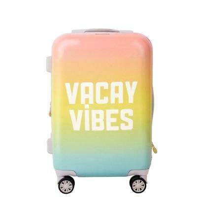 21 in. Pink Vacay Vibes Hard Sided Rolling Luggage Suitcase