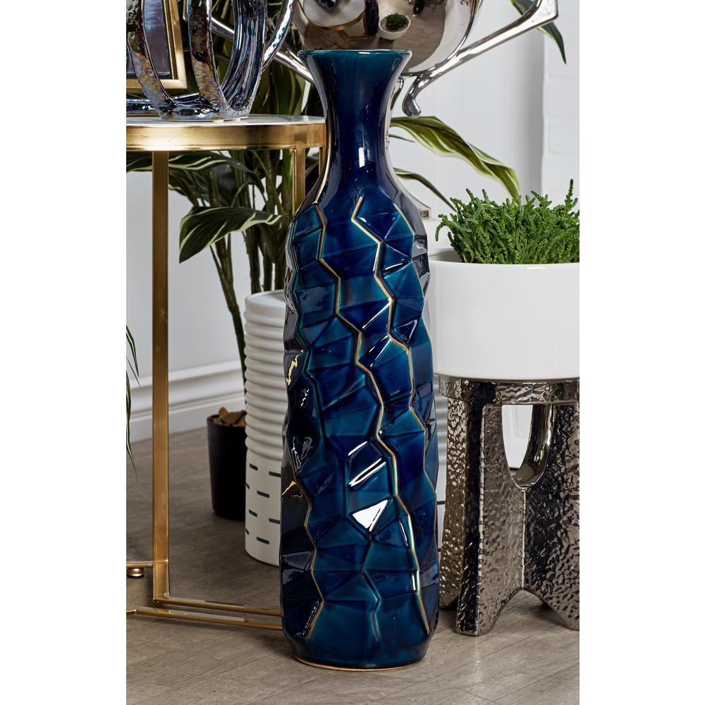 26 in. Navy Blue Ceramic Decorative Vase