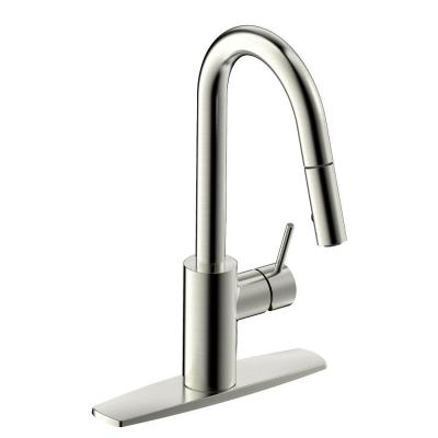 Brushed Nickel Euro Collection Single-Handle Kitchen Faucet With Pull-Down Spray