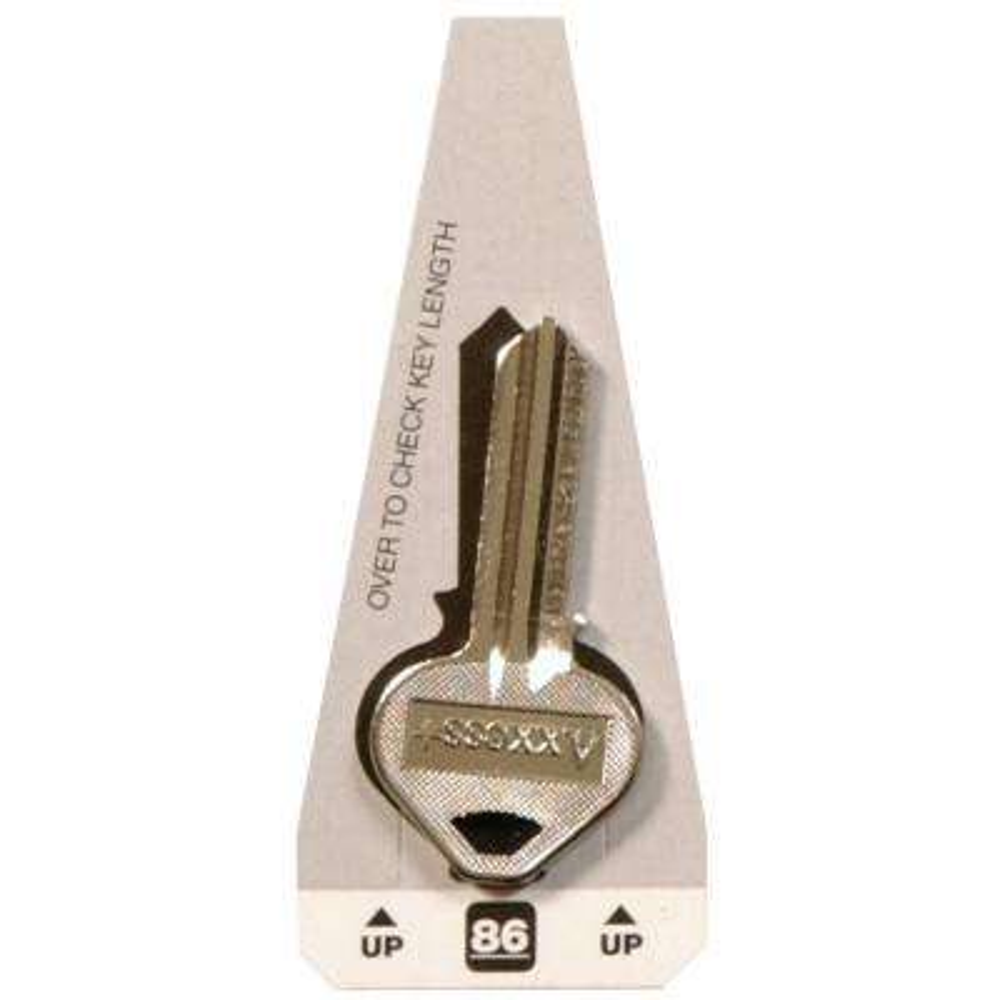 #86 Blank Russwin Lock Key