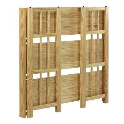 3-Shelf 35 in. Natural Wide Folding Stackable Bookcase