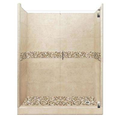Roma Grand Hinged 30 in. x 60 in. x 80 in. Right Drain Alcove Shower Kit in Brown Sugar and Satin Nickel Hardware