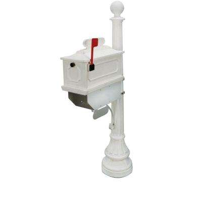1812 Beaumont 65 in. Plastic White Mailbox and Post
