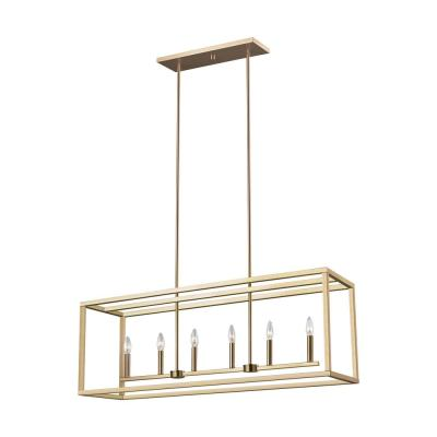 Moffet Street 6-Light Satin Bronze Island Pendant with Dimmable Candelabra LED Bulb