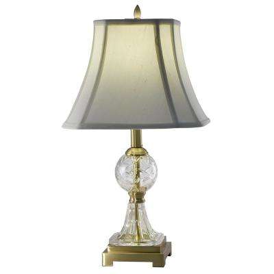 23.5 in. Sutton Crystal Antique Brass Finish Table Lamp with Fabric Shade