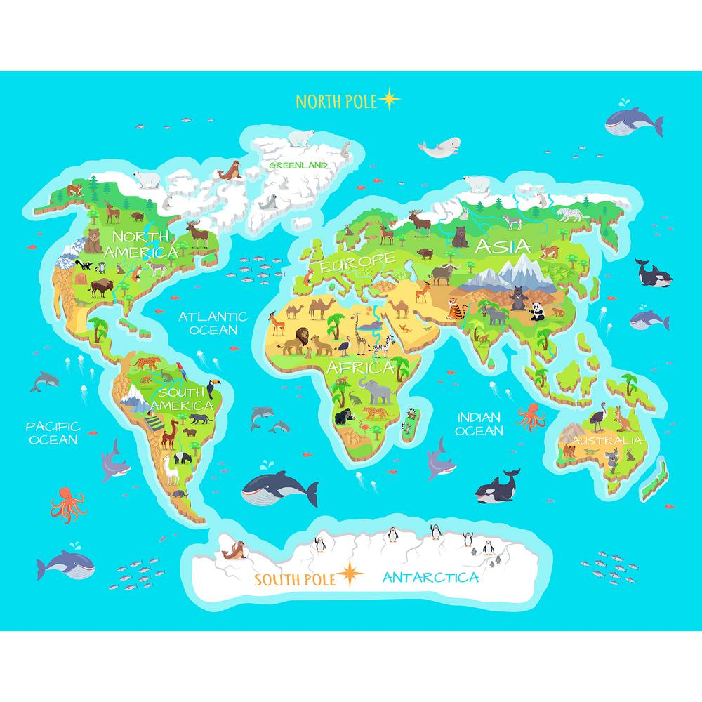 Blue world map wall applique wr50603 the home depot blue world map wall applique gumiabroncs Image collections