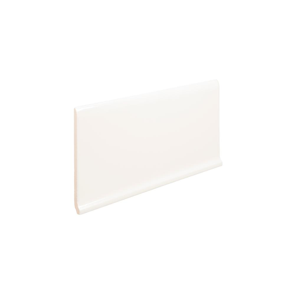Emser Style Pure White Cove Base Polished 6 3 in  x 11 73 in  Porcelain  Wall Tile (0 51 sq  ft )
