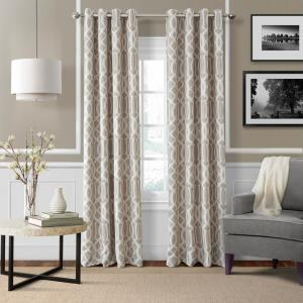 Elrene Harper Linen Blackout Window Curtain Panel - 52 inch W x 95 inch L by Elrene