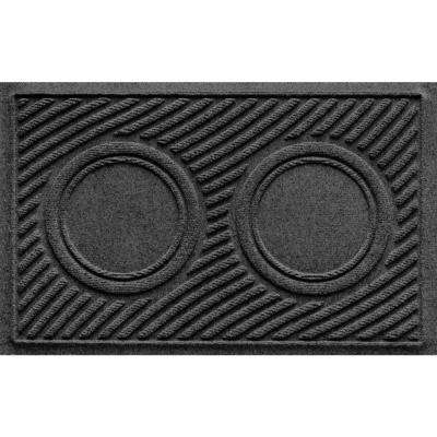 Charcoal 18 in. x 28 in. Dog Bowl Wave Pet Mat
