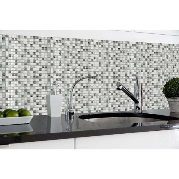 Magic Gel 9 125 In X 9 125 In Silver Glass Mosaic Wall Tile 3 Pack