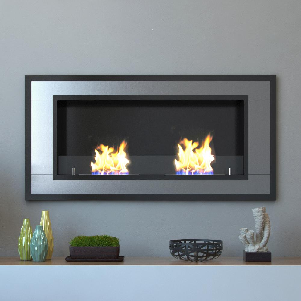 Wall Mounted Ethanol Fireplace In Stainless Steel