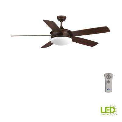 Fresno Collection 60 in. LED Indoor Antique Bronze Industrial Ceiling Fan with Light Kit and Remote