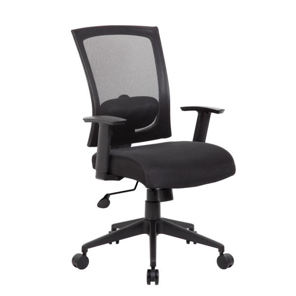 Black Mesh Back and Seat Cushions Black Base Lumbar Support Adjustable Arms Pneumatic Lift Executive Task Chair