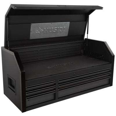 Industrial 52 in. W x 21.5 in. D 6-Drawer Tool Chest with Pull-out Work Surface and LED Light in Matte Black