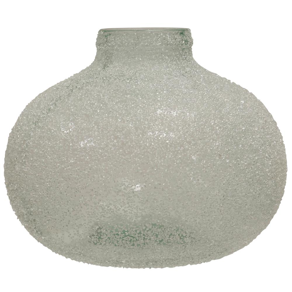 StyleCraft Translucent Smoke (Grey) Crackle Glass Round Wide Vase This broad vase is made using frosted glass to inspire its vintage motif. It features a textured exterior that makes it a minimal statement piece. Comes in smoke.