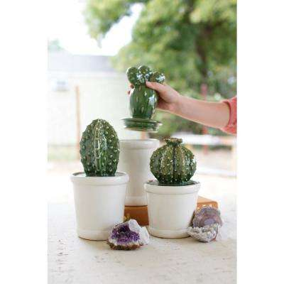 3-Piece Ceramic Cactus Canister Set with Ceramic Lids