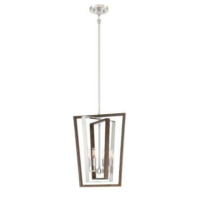 4-Light Brushed Nickel and Corona Bronze Pendant