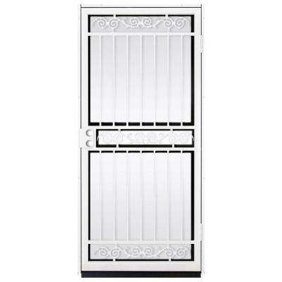 36 in. x 80 in. Sylvan White Surface Mount Outswing Steel Security Door with Shatter-Resistant Glass