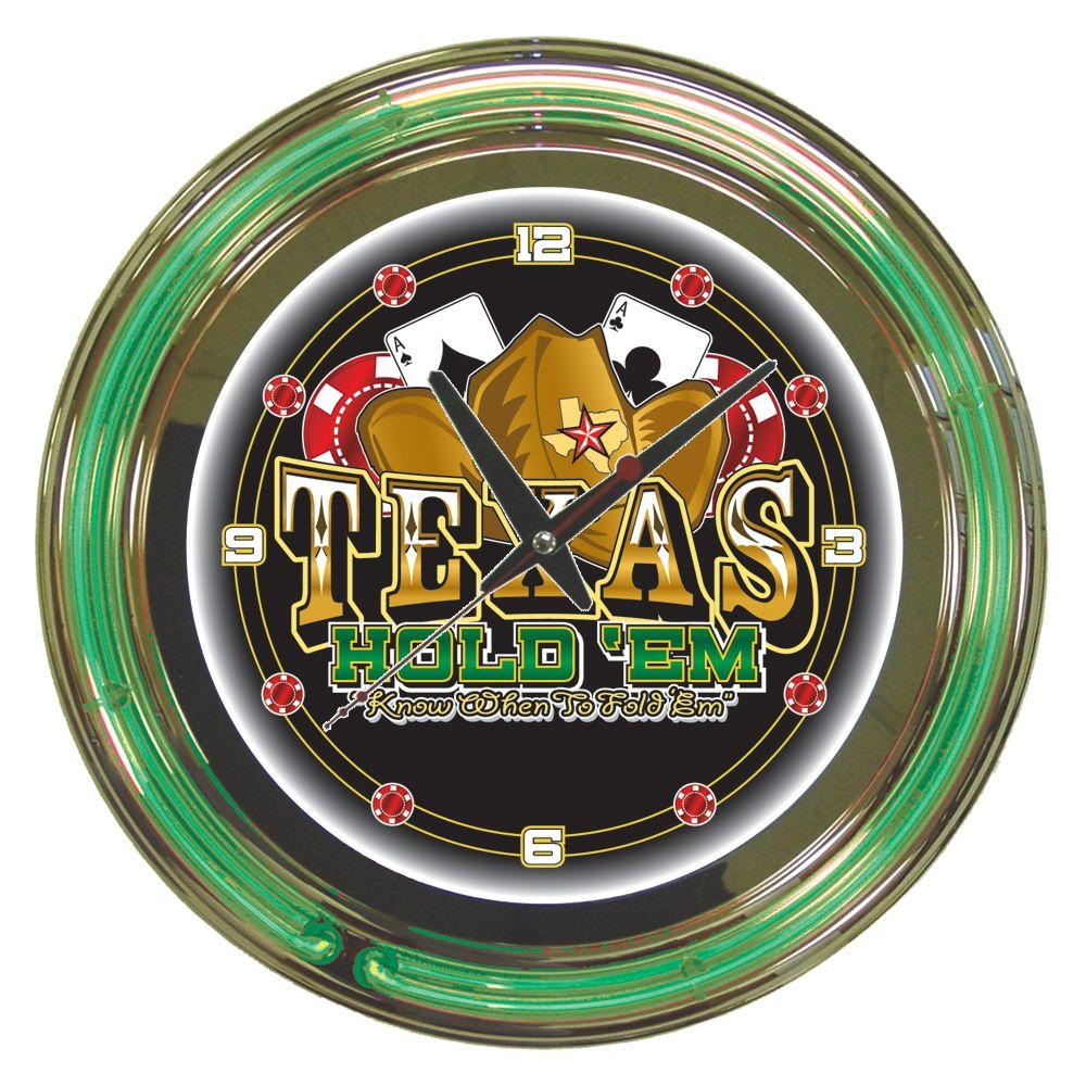 Trademark Global 14 In Texas Hold Em Neon Wall Clock